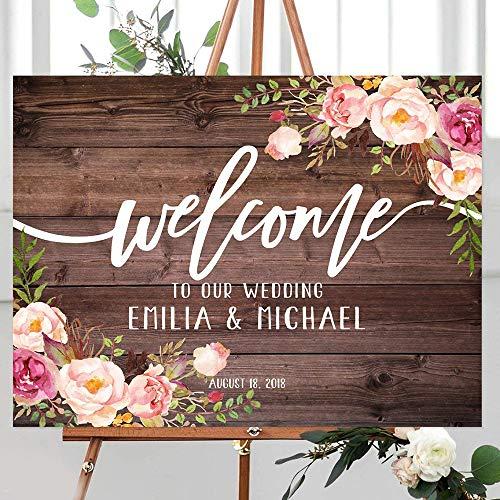 gjdgj Cartel de Bienvenida de Boda rústico Personalizado Bienvenido a Nuestro Cartel de Boda Cartel de Boda Floral Tablero de Bienvenida para Imprimir 45x60cm
