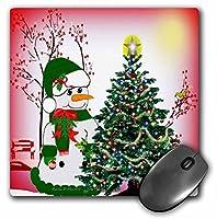 3drose LLC 8x 8x 0.25インチマウスパッド、雪だるまDecorating The Tree ( MP _ 6492_ 1)