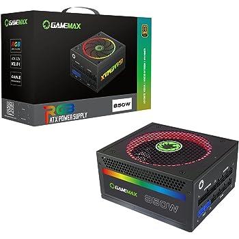 GameMax RGB-850 850W Modular 80 Plus Gold Power Supply with 14cm RGB Fan - Black
