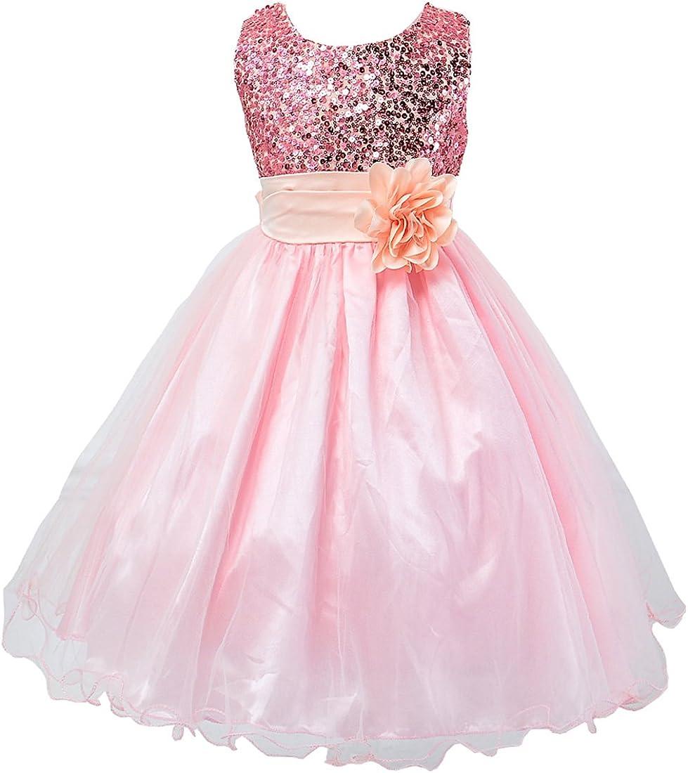 Hotone Girl Kid Princess Wedding Bridesmaid Party Formal Sequin Ball Gown Dress