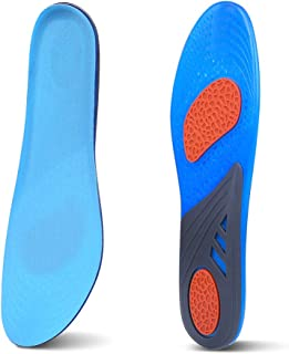 BEZOX Shoe Insoles for Men, Shock Absorbing Silicone Running Shoes Inserts, Athletic Gel Foot Insoles Cushions, US Size: 7