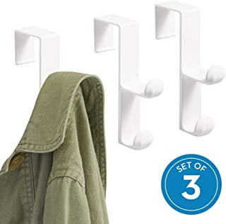 iDesign Over the Door Plastic Dual Hook Hanger for Coats, Jackets, Hats, Robes, Towels, Ideal for Bathroom, Bedroom, Mudroom, Set of 3, White