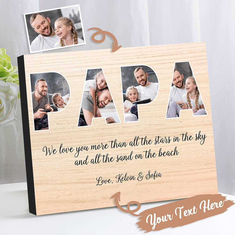 VEELU Custom Papa Picture Frame Regular discount Birthda Gifts Love I Atlanta Mall
