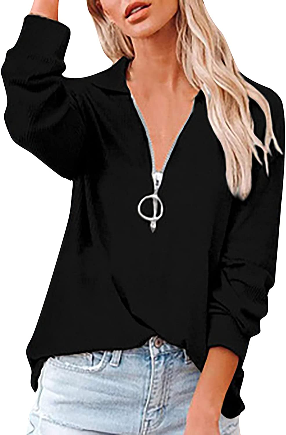 Pullover for Women 3/4 Zipper Up Long Sleeve V-Neck Solid Color Blouses Autumn Loose Ladies Fashion Simple Tops
