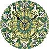 壁掛け時計10インチマンダラアジアンスタイルエスニックダリアの花びら東部イラストプリントジェイドハンターシダグリーンアプリコットサイレントホームオフィスの装飾くすぐり時計オフィス装飾