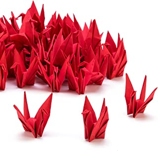 PARBEE 100 Pcs Folded Origami Paper Cranes, DIY Japanese Crane Mobile String Garland Hanging Bird Ornaments for Wedding Backdrop Decoration, Red