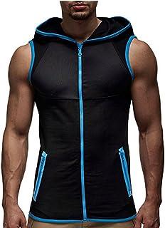 8b45635d21ca Sudaderas con Capucha para Hombre Fitness Sportwear Bodybuilding Tank Top  sin Mangas Tops Tees Chaleco Informal