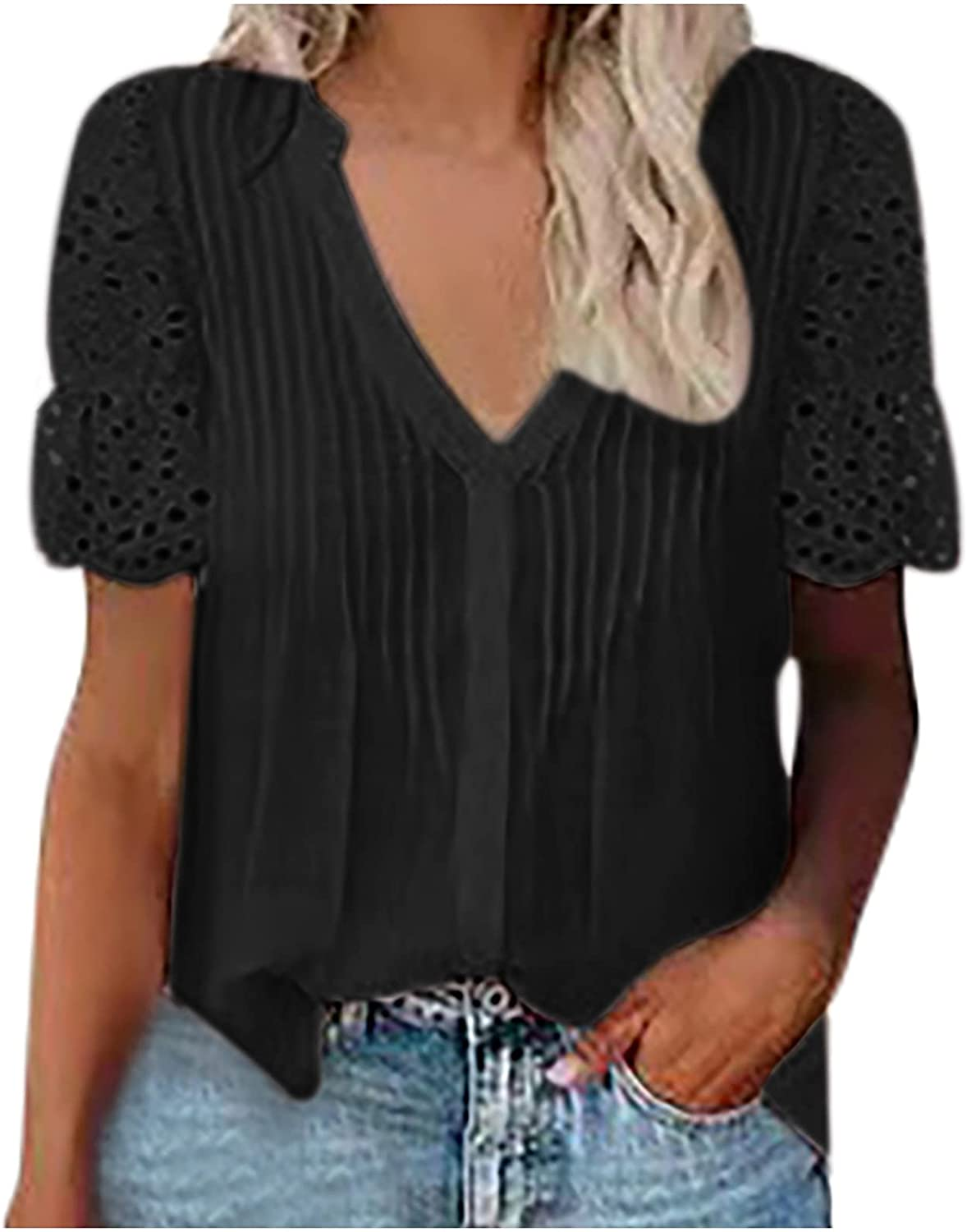 Blouses for Women Lace Crochet Short Sleeve Tops Summer Comfy Breathable Basic Tunic Button Down Elegant Shirt