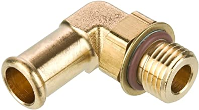 Parker 169HB-16-M133-pk5 Brass Hose Barb Fitting, Barb to Metric, Brass, Beaded Barb and Metric 90 Degree Beaded Barb Elbow, 1
