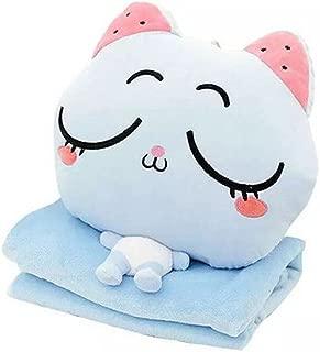 Alpacasso 4 in 1 Cute Cartoon Plush Stuffed Animal Toys Throw Pillow Blanket Set with Hand Warmer Design. (D)