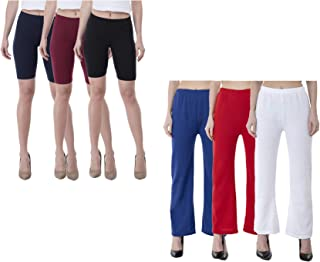 IndiWeaves Womens Cotton Solid Cycling Shorts and Woolen Palazzo (Pack of 6)