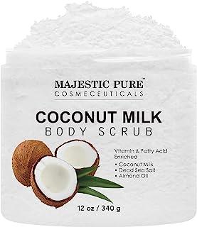 Majestic Pure Coconut Milk Body Scrub, Anti Cellulite & Exfoliator, Natural Skin Care Formula Helps with Stretch Marks, Ec...