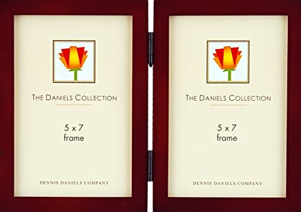 Dennis Daniels Gallery Woods Hinged Double Vertical Picture Frames, 5 x 7 Inches, Walnut