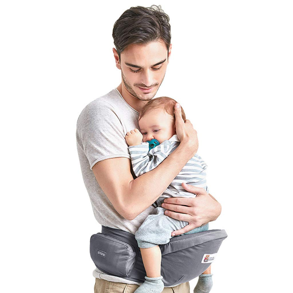 Fesjoy Babytrage mit H/üftsitz Atmungsaktives und abnehmbares Design Verstellbarer Gurt Seitentaschen Multifunktionale ergonomische Baby-Sicherheitstr/äger Tr/äger Taillenhocker f/ür 0-36 Monate Babys