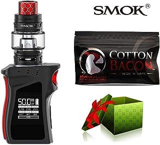 (綿は贈り物です)【SMOK正規品】SMOK MAG Baby Kit 電子タバコ 50W TC 本体 4.5ml TFV12 Baby Prince Tank プリンス アトマイザー Vape スターターキット 爆煙 (Black Red) + Wick 'N' Vape製品 Cotton bacon