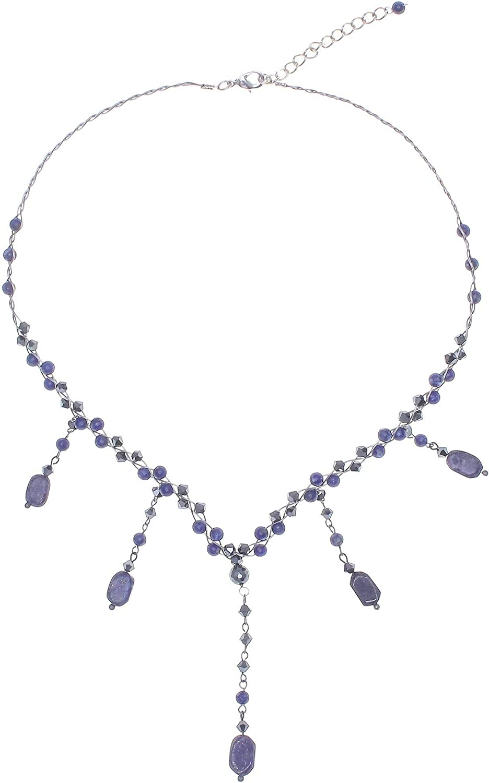 NOVICA Lapis Lazuli Stainless Steel Beaded Choker Necklace, 17.25