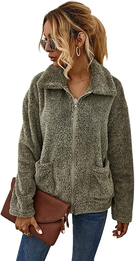 Women's Fashion Long Sleeve Lapel Zip Up Faux Fur Shearling Shaggy Oversized Coat Jacket with Pockets for Warm Winter