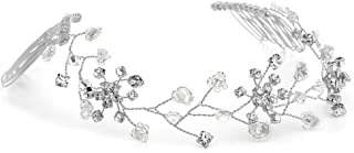 Mariell Clear Crystal Hair Vine for Brides, Silver Hair Jewelry, Flexible Wedding Headpiece with Combs