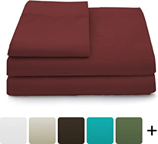 Cosy House Collection Luxury Bamboo Sheets - 3 Piece Bedding Set - High Blend from Natural Bamboo Fiber - Soft Wrinkle Free Fabric - 1 Fitted Sheet, 1 Flat, 1 Pillow Case - Twin, Burgundy