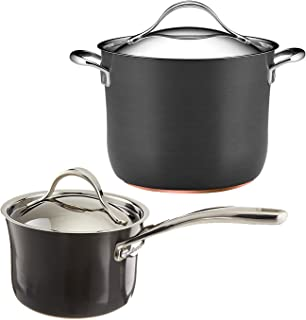 Anolon Nouvelle Copper Hard Anodized Nonstick 2-Quart Covered Saucepan with 8-Quart Covered Stockpot