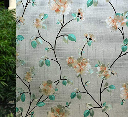 "VSUDO 2 Rolls 35.4"" by 78.7"" Privacy Window Film, Jasmine Flower Pattern Window Tint for Home, Static Cling Window Glass Sticker (38.75 Sq. Ft Total)"