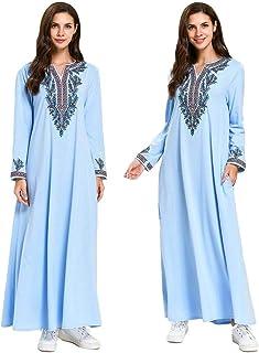 Muslim Women Long Sleeve Dress Jilbab Islamic Robe Kaftan Embroidery Arab Turkey Gown Casual Ramadan Dresses Pockets