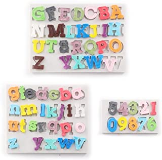 Alphabet Fondant Silicone Mold for Baby Shower, 3D Silicone Gumpaste Mold Fondant Tools and Accessories Cupcake Decorating Supplies 3 Pack