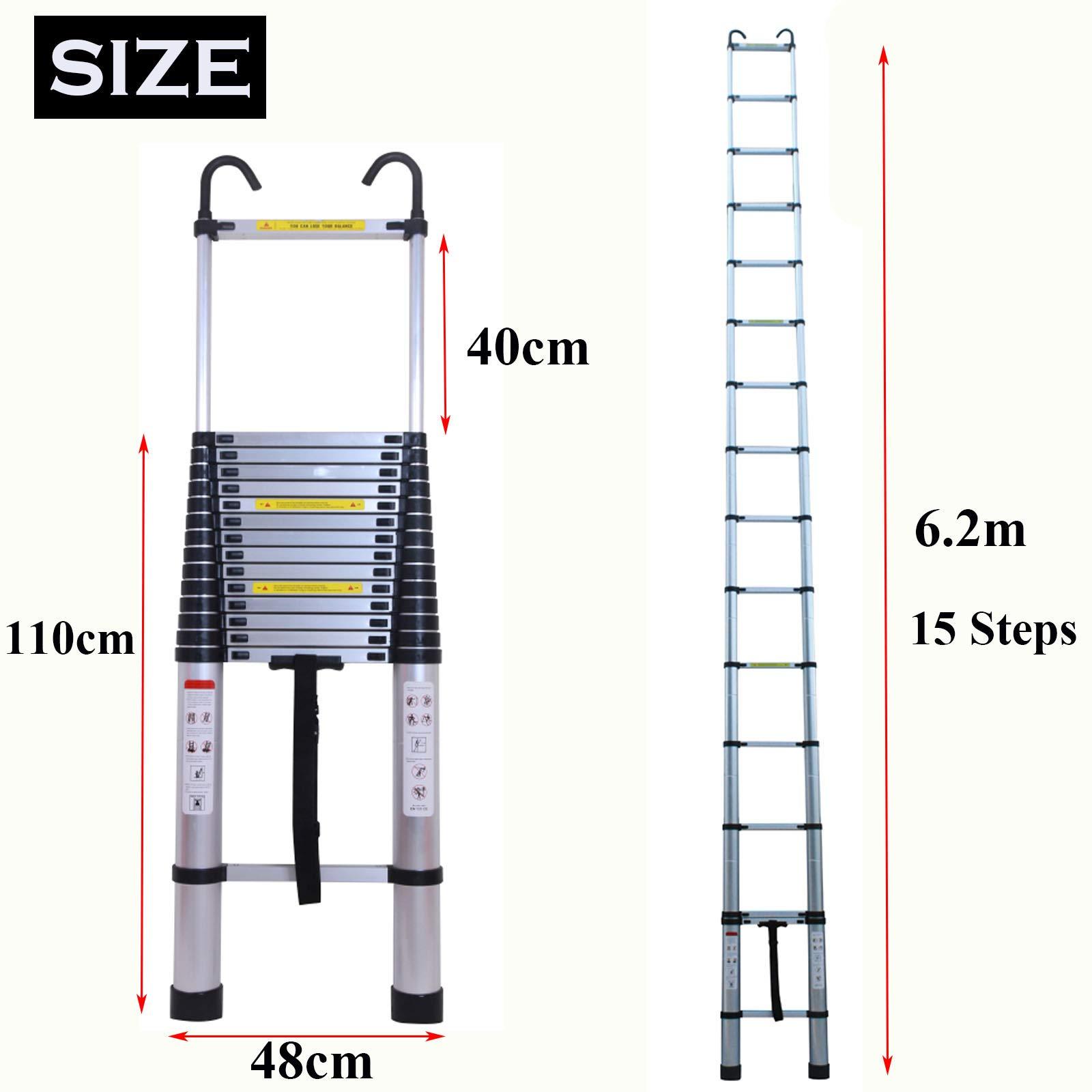Autofather - Escalera telescópica de 6,2 m con gancho de seguridad desmontable, escalera telescópica de aluminio de extensión de escalera alta, multiusos, capacidad de 150 kg, segura y compacta: Amazon.es: Bricolaje y herramientas