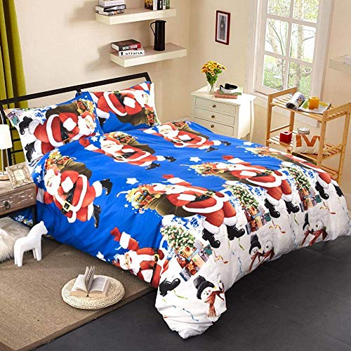 Lvvsovs Kids Duvet Cover Set for Single Double Super King Size Bed, 3D blue santa animal snowman christmas Printing Microfiber Bedding Set with Pillowcases and Quilt Case( Double 200 x 200 cm )