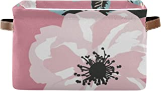 Paniers de rangement Motif Fleurs de printemps Feuilles Organisateur de placard à main Boîte d'étagère avec poignée Organi...