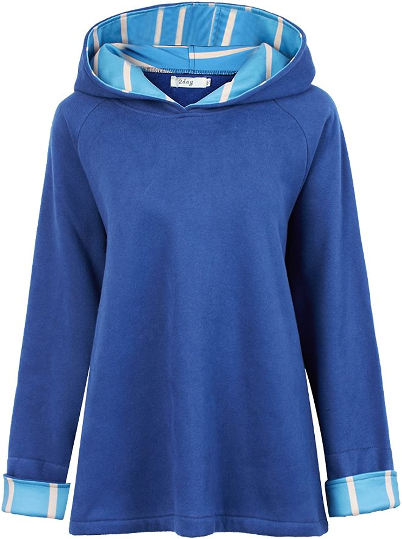 Casual Fleece Stripe Patchwork Zipper Long Sleeve Hood Women Cape Coat