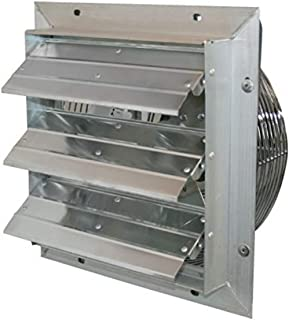 "J&D Manufacturing VES161C ES Aluminum Shutter Fan, 16"" Size, 115V, 1/10 hp, 1 Phase, Variable Speed, 10' Cord"