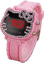 Fashion Womens Dress Outdoor Sports Electric Watch Pink Silicone Strap Quartz Watch Led Digital Display