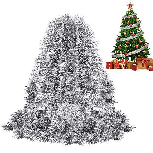FAVENGO 6m Lametta Girlande Weihnachten 9cm Dick Glänzende Girlande Weihnachtsgirlanden Geländer Silber Glitzernde Hängende Deko für Weihnachtsbaum Weihnachtsfeier Hochzeit Geburtstag Party Fenster