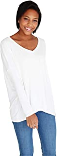 Women's Bamboo V-Neck Long Sleeve Top, Comfy Basic Dolman Style T-Shirt with Oversized Fit - 11 Colors Available