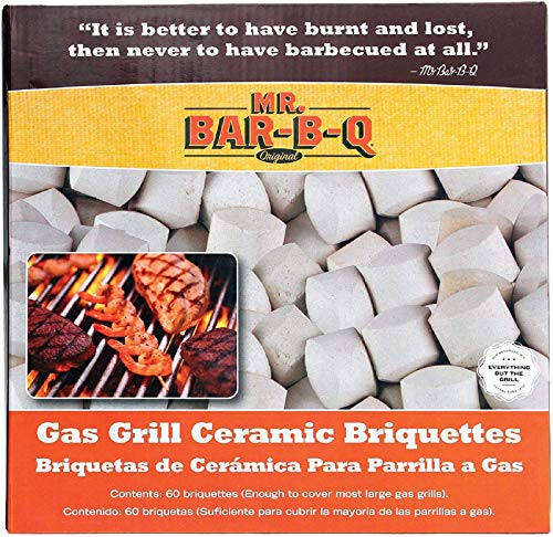 Mr. Bar-B-Q 06000Y Ceramic Gas Grill Self Cleaning Briquettes, Replacement for Lava Rocks, Cleaner Cooking, Gas Grill Briquettes for BBQ Grill, EMW8015680, 60 Count