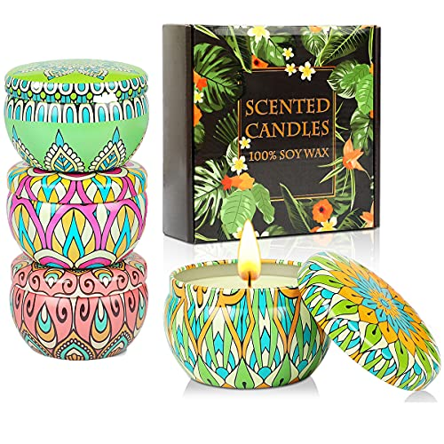 KAVAVO Coffret cadeau bougies parfumées,4 Paquet 2.5 Oz bougies parfumées, bougies,bougie en cire de soja soulagement du stress Bougie d'aromathérapie pour la maison.