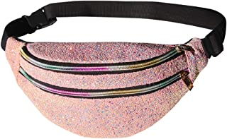 ICOSY Fanny Pack Women Waist Pack Glitter Crossbody Bags Shiny Waist Pack Cute Fashion Fanny Packs Women Travel Waist Packs Girls Outdoor Shopping Sports Party Bags