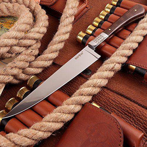 Grand Way Hunting Survival Fixed Blade Knife - Tactical Knife with Wood Handle for Hiking Camping and Fishing - Big Blade Kitchen Chefs Knife 3282