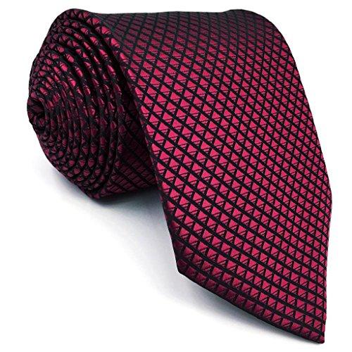 Shlax&wing Hommes Cravate Couleur Unie Rouge Mariage Soie Mariage Costume d'affaires Extra Long