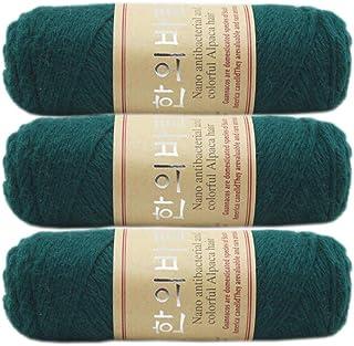 3 Balls Thick Warm Alpaca Wool Mink Cashmere Knitting Yarn for Crocheting Hand-Woven 300g (Light Blackish Green)