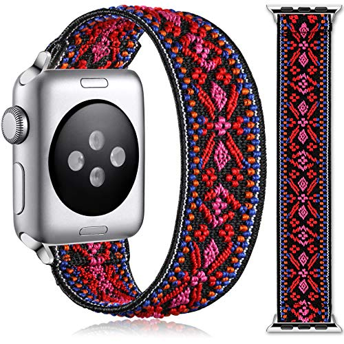 Muranne Compatible with Apple Watch Band 38mm 40mm for Women Men, Cute Nylon Elastic Bracelet Accessories Stretchy Loop Strap for iWatch SE Series 6 5 4 3 2 1, 38mm/40mm Small, Red Pink Print