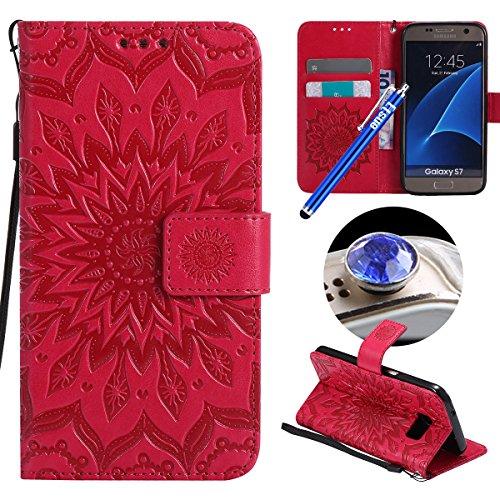 Etsue Kompatibel mit Samsung Galaxy S7 Handyhülle Handytasche Brieftasche Hülle Bookstyle Schutzhülle Mandala Blumen Prägung Lederhülle Flip Case Cover Leder Tasche Klapphülle Kartenfächer,Hot Pink