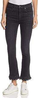 rag & bone Hana High-Waist Crop Flare Jeans, Black Croyden Wash, 26