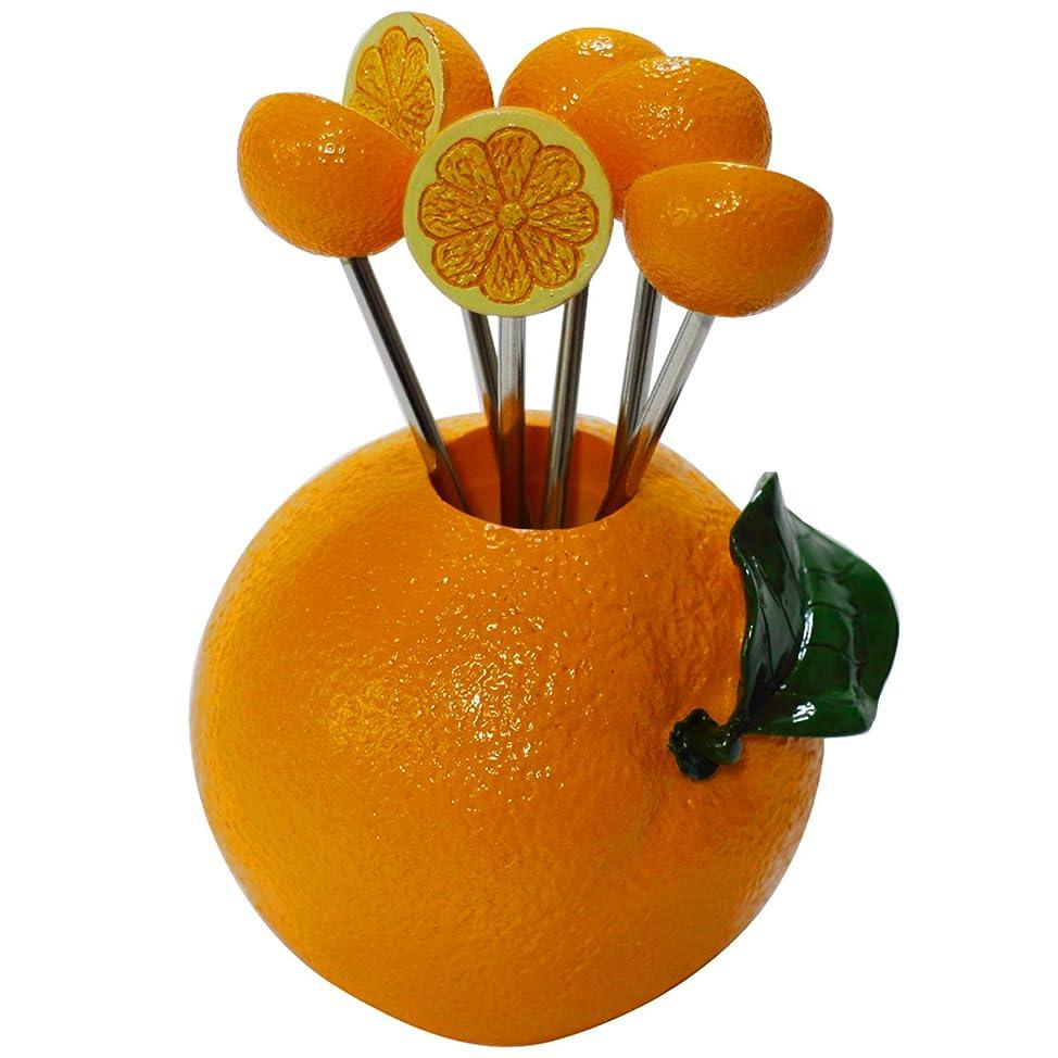 つまらない彼女自身無駄だ【ステンレス製】フルーツピック オレンジ ピック6本セット (フルーツフォーク) TE-306