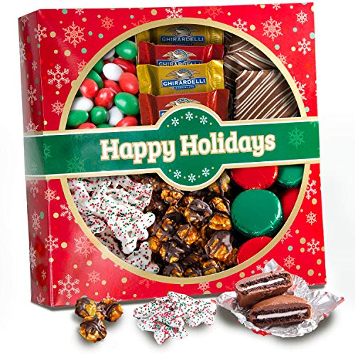 Holiday Classic Chocolate, Candy & Crunch Gift Basket With Handmade Chocolates, Ghirardelli, Caramel Corn for Gourmet Christmas Food Gift