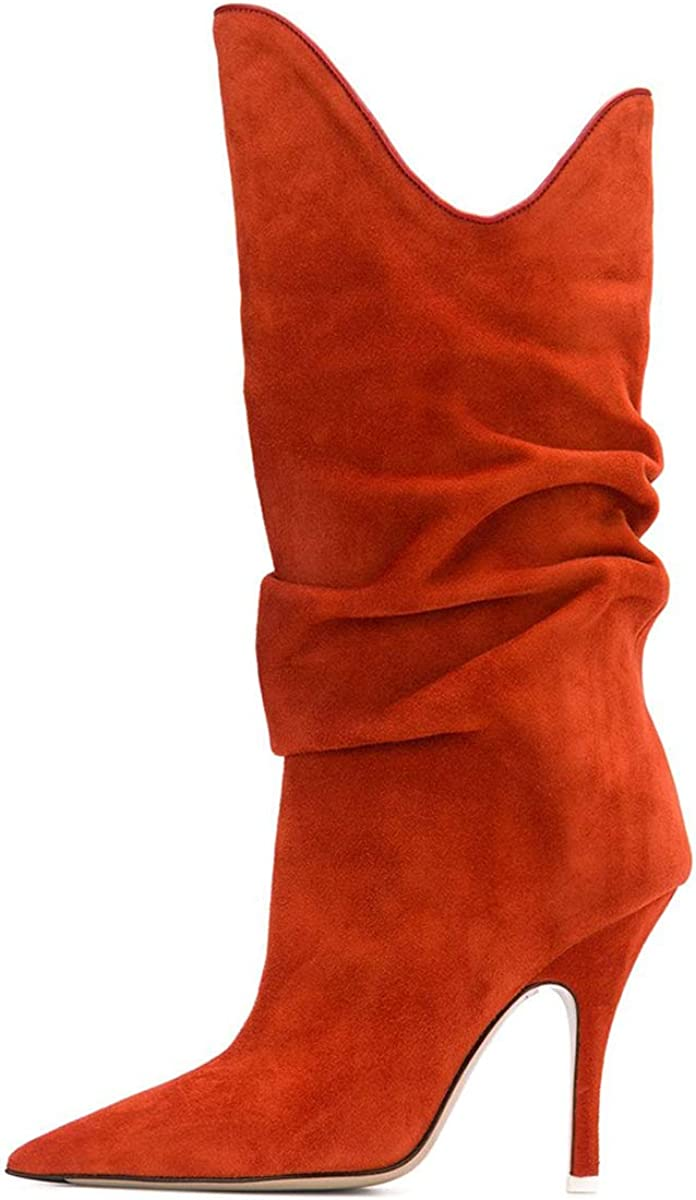 FSJ Women Slouchy Mid Calf Boots Pointed Toe Slim Stiletto High Heel Under Knee Boots V Cut Pointed Toe Pull On Winter Dress Shoes Size 4-15 US