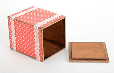 Bright Designer Decoupage Technique Box Handmade Wooden Jewelry Box Polka Dot By MadeHeart