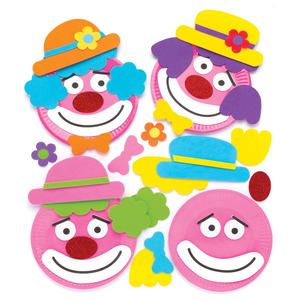 Animer and price revision Baker Ross AW475 Clown Plate Ornament Craft Pack Inventory cleanup selling sale Kits 4 - of Pa