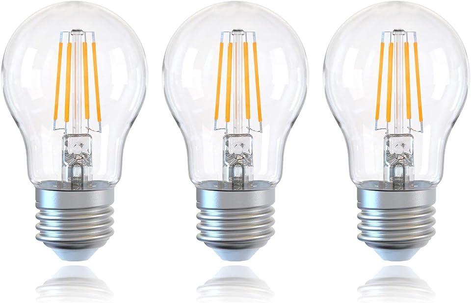 DGE 3Pack E27 Dimmable LED Filament Vintage Light Bulbs, 6W 810Lm A60 LED Edison Screw Light Bulb, 60W Incandescent Equivalent, 2700K Warm White Classic Shape Energy Saving Bulb[Energy Class A++]